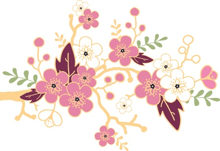 Sakura blossoming branch design element