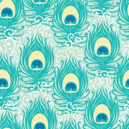 Illustration for Peacock feathers seamless pattern background - Royalty Free Image