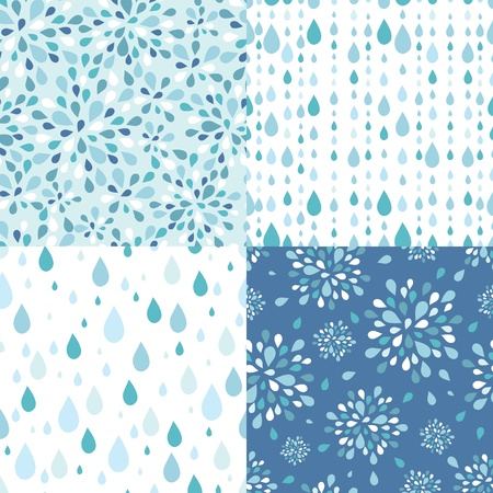 Set of four raindrops seamless patterns backgrounds
