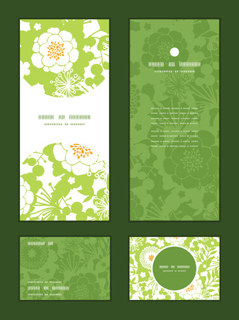 Illustration pour Vector green and golden garden silhouettes vertical frame pattern invitation greeting, RSVP and thank you cards set - image libre de droit