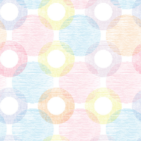 Illustration for Colorful textile circles seamless patter background border - Royalty Free Image
