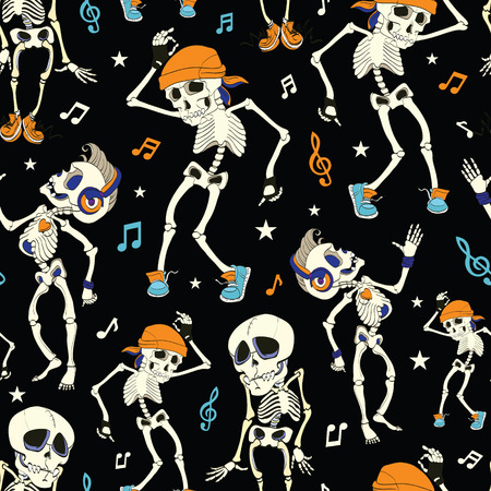 Illustration pour Vector Dancing Skeletons Party Halloween Seamless Pattern. Music Disco. Funny Headphones graphic design - image libre de droit