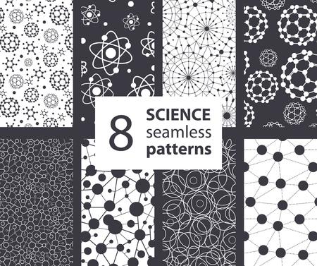 Illustration pour Vector Science Molecules Textures 8 Set Seamless Patterns. Atoms Fullerene Science graphic design - image libre de droit
