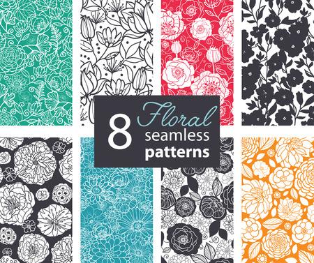 Illustration pour Vector Black White Color Flowers 8 Set Seamless Pattern. Poppy, peony graphic design - image libre de droit