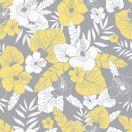 Illustration for Vector light yellow and grey drawing tropical summer hawaiian seamless pattern. - Royalty Free Image