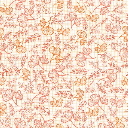 Illustration pour Vector seamless pattern with fall leaves on linen texture. Background for fabric or book covers, manufacturing, wallpapers, print, gift wrap, scrapbooking. Surface pattern design. - image libre de droit