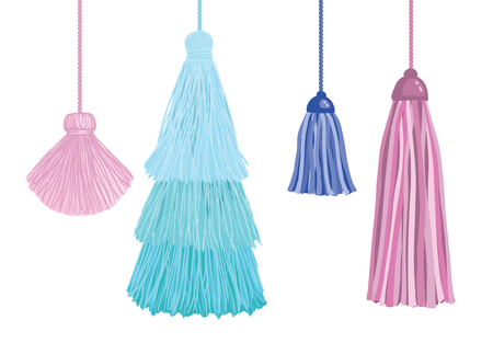 Illustration for Set of fun decorative tassels hanging from strings. Great for handmade cards, invitations, wallpaper, packaging, nursery designs. - Royalty Free Image