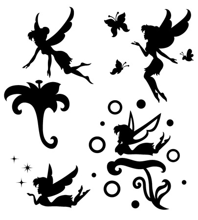 Illustration for Collections of silhouettes of a fairy  - Royalty Free Image