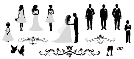 Photo pour Set of vector wedding silhouettes. - image libre de droit