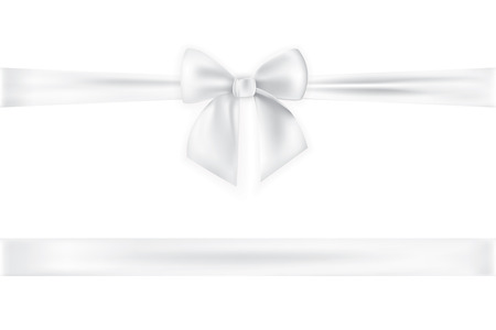 Ilustración de Realistic bow and ribbon isolated on transparent background. Template for greeting card, poster or brochure. Vector illustration. - Imagen libre de derechos