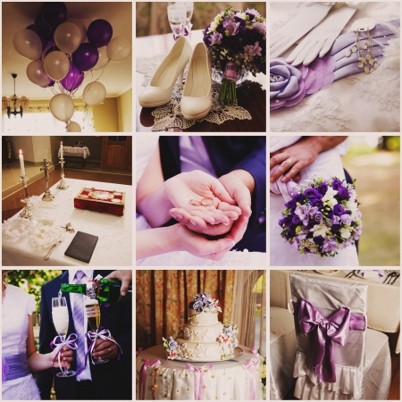 Collage from nine wedding  photos in violet style