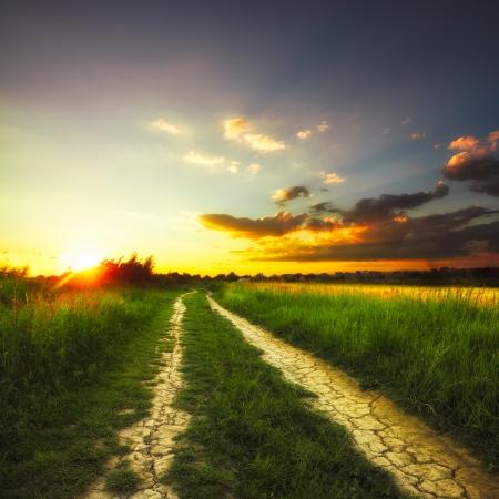 Photo pour Path in the field and sunset. Rural landscape - image libre de droit
