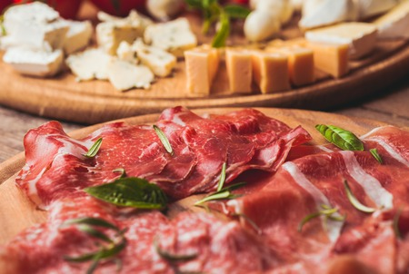 Photo for prosciutto crudo - italian ham, tradition sliced meat - Royalty Free Image