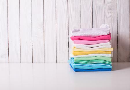 Photo pour Folded baby clothes - image libre de droit