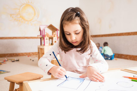 Photo for Drawing lesson in kindergarten - Royalty Free Image