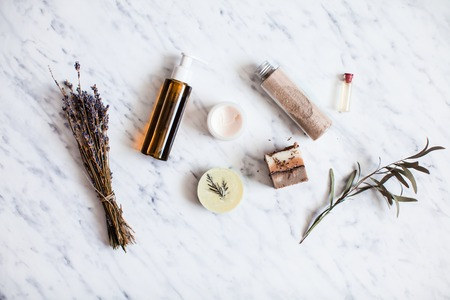 Photo for Organic cosmetic flat lay - Royalty Free Image