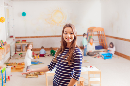 Foto de Portrait of teacher in a Waldorf kindergarten - Imagen libre de derechos