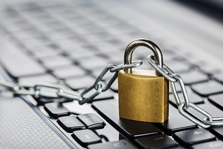Foto de Padlock on computer keyboard. Network Security, data security and antivirus protection PC. - Imagen libre de derechos