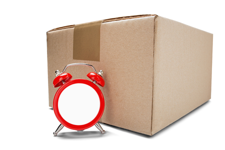 Photo pour delivery card boxes and red clock without dial on isolated white background with shadows. Concept of on time cargo and post delivery. Idea for on schedule mail delivery and post service. - image libre de droit