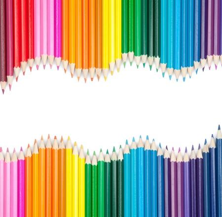Photo pour set of color pencils isolated on white - image libre de droit