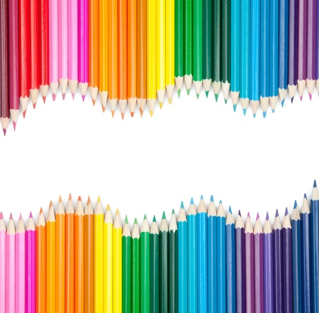 Foto de set of color pencils isolated on white - Imagen libre de derechos