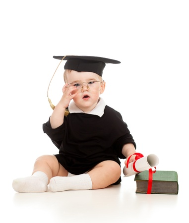 Photo for Baby in academician clothes  with roll and book - Royalty Free Image