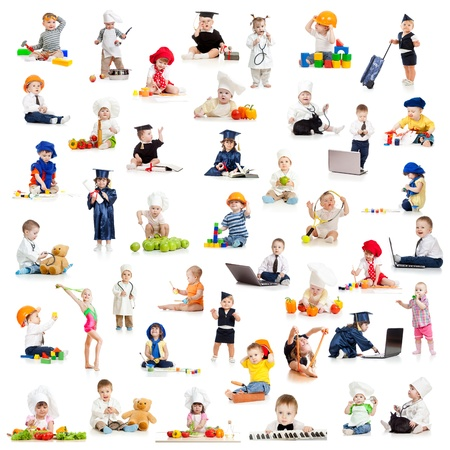 children kids babies playing professions isolated on white