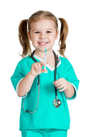 kid girl playing doctor with syringe isolated on white background