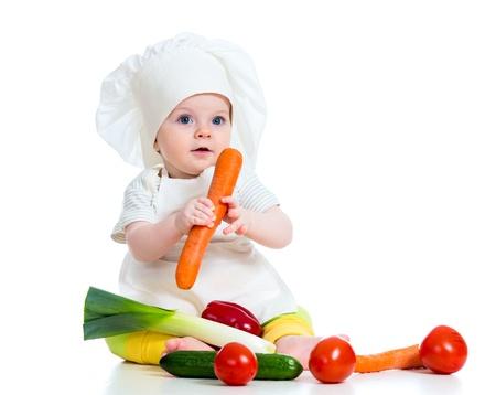 Foto de cook baby girl isolated on white - Imagen libre de derechos