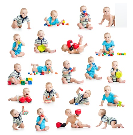Photo pour collection of active baby or kid boy isolated - image libre de droit