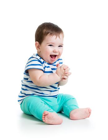 Photo pour portrait of smiling baby boy isolated on white  - image libre de droit