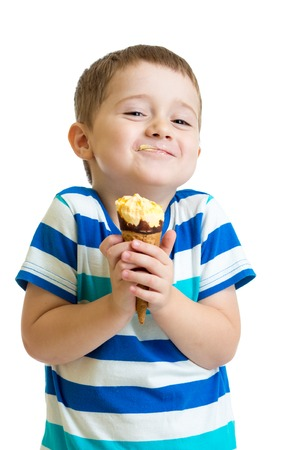 Photo for funny kid boy eating ice cream isolated on white - Royalty Free Image
