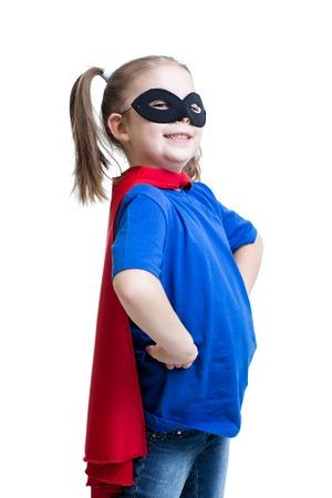 Photo pour kid girl dressed as superman or superhero isolated - image libre de droit