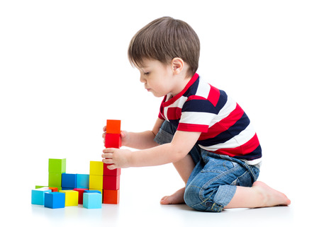 Photo for kid child boy playing on floor isolated - Royalty Free Image