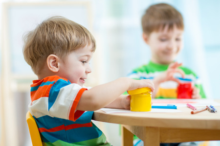 Photo pour children play and paint at home or kindergarten or playschool or daycare - image libre de droit