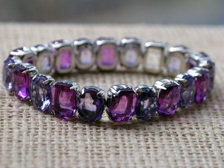 Deep purple crystal and silver bracelet