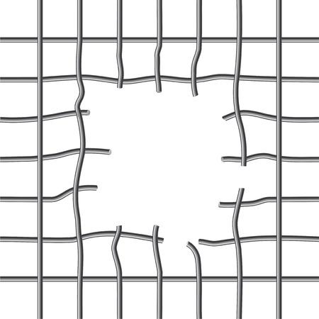 Illustration pour Broken metall grid with a hole inside - image libre de droit