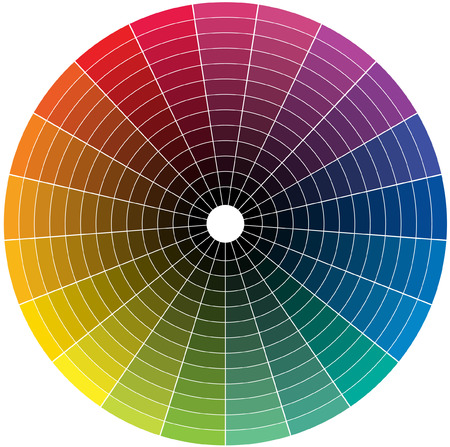 Illustration pour Color wheel with the transition to black in the middle - image libre de droit