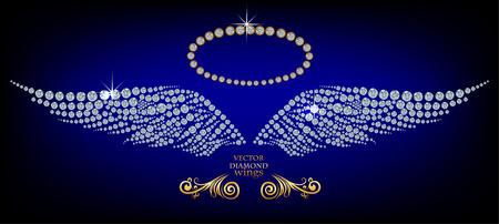 Illustration pour Shiny diamond angel wings - image libre de droit