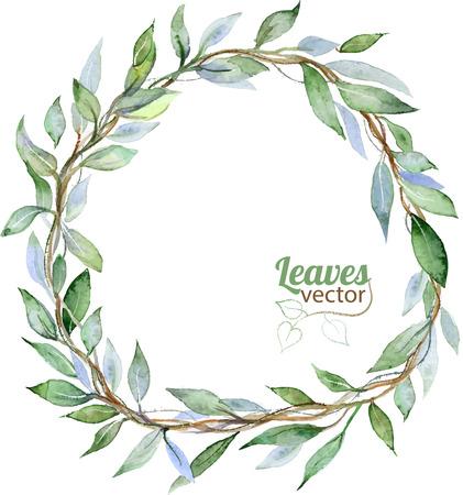 Ilustración de Round background with green leaves, watercolor illustration in vector - Imagen libre de derechos
