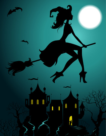 Ilustración de Background with flying beautiful sexy witch silhouette - Imagen libre de derechos