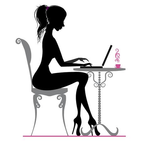 Illustration pour Silhouette of beautiful girl with laptop - image libre de droit