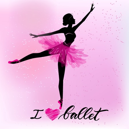 Illustration for Silhouette of young ballerina - Royalty Free Image