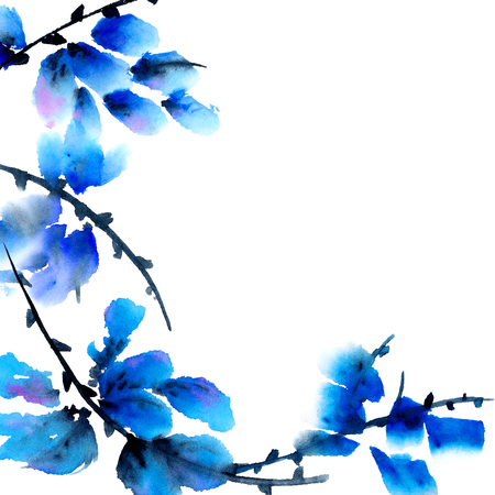 Photo for Blue flowers. Watercolor painting in traditional asian style sumi-e, u-sin. Decorative background. - Royalty Free Image