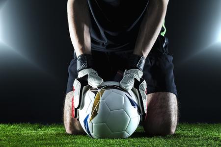 Foto de The football concept with goalkeeper - Imagen libre de derechos