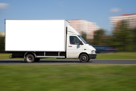 Panning image of truck with blank space for your adretisement