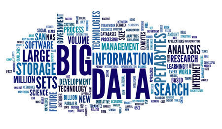 Foto de Big data concept in word tag cloud on white background - Imagen libre de derechos