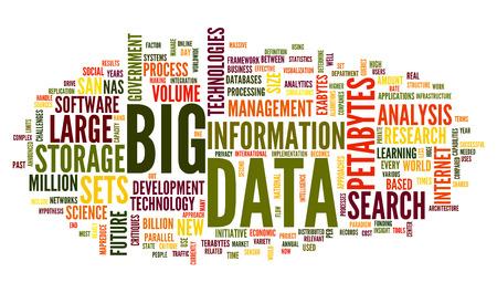 Foto de Big data concept in word tag cloud on white background - Imagen libre de derechos