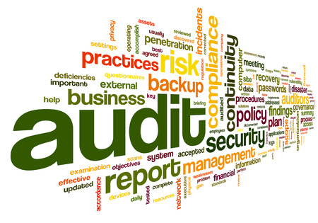 Photo for Audit and compliance  in word tag cloud on white - Royalty Free Image