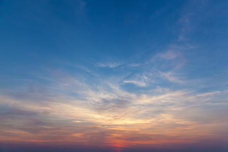 Photo for Sitting the sun against the sky. The sky is sunset. - Royalty Free Image